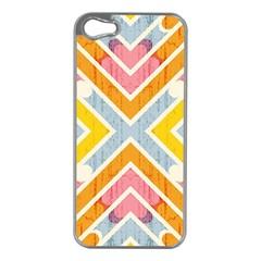 Line Pattern Cross Print Repeat Apple Iphone 5 Case (silver)