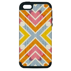 Line Pattern Cross Print Repeat Apple Iphone 5 Hardshell Case (pc+silicone)