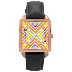 Line Pattern Cross Print Repeat Rose Gold Leather Watch