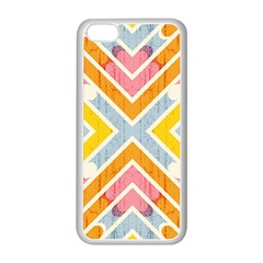 Line Pattern Cross Print Repeat Apple iPhone 5C Seamless Case (White)