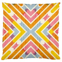 Line Pattern Cross Print Repeat Large Flano Cushion Case (one Side)
