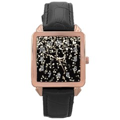 Christmas Bokeh Lights Background Rose Gold Leather Watch