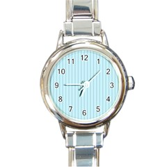 Stripes Striped Turquoise Round Italian Charm Watch