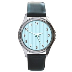 Stripes Striped Turquoise Round Metal Watch