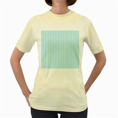 Stripes Striped Turquoise Women s Yellow T Shirt