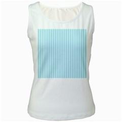 Stripes Striped Turquoise Women s White Tank Top