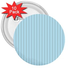 Stripes Striped Turquoise 3  Buttons (10 Pack)