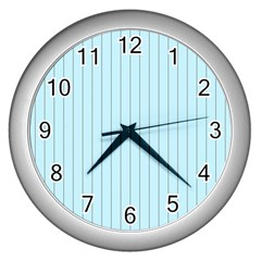 Stripes Striped Turquoise Wall Clocks (silver)