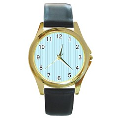 Stripes Striped Turquoise Round Gold Metal Watch