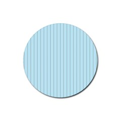Stripes Striped Turquoise Rubber Round Coaster (4 Pack)
