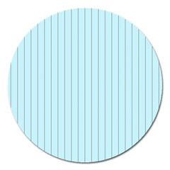 Stripes Striped Turquoise Magnet 5  (round)