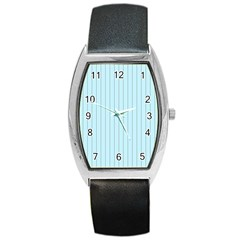 Stripes Striped Turquoise Barrel Style Metal Watch