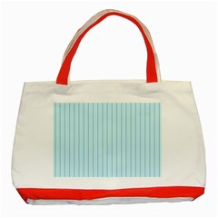 Stripes Striped Turquoise Classic Tote Bag (red)