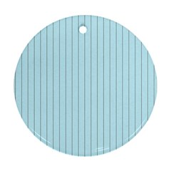 Stripes Striped Turquoise Round Ornament (two Sides)