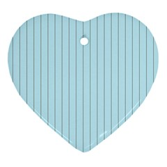 Stripes Striped Turquoise Heart Ornament (2 Sides)
