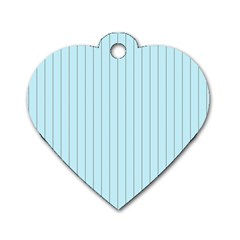 Stripes Striped Turquoise Dog Tag Heart (two Sides)