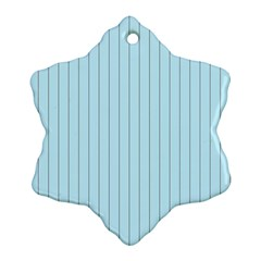 Stripes Striped Turquoise Snowflake Ornament (2 Side)