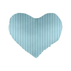 Stripes Striped Turquoise Standard 16  Premium Heart Shape Cushions