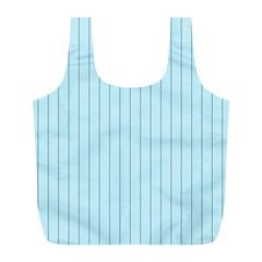 Stripes Striped Turquoise Full Print Recycle Bags (l)