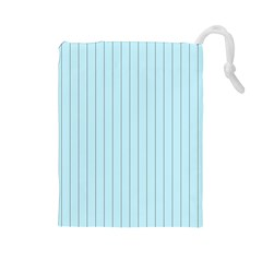 Stripes Striped Turquoise Drawstring Pouches (large)