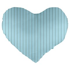 Stripes Striped Turquoise Large 19  Premium Flano Heart Shape Cushions