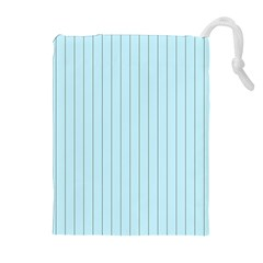 Stripes Striped Turquoise Drawstring Pouches (Extra Large)