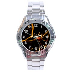 Abstract Stainless Steel Analogue Watch