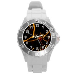 Abstract Round Plastic Sport Watch (l)
