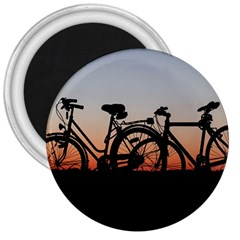 Bicycles Wheel Sunset Love Romance 3  Magnets