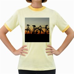 Bicycles Wheel Sunset Love Romance Women s Fitted Ringer T Shirts