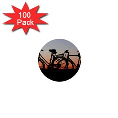 Bicycles Wheel Sunset Love Romance 1  Mini Buttons (100 Pack)