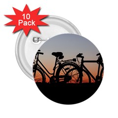 Bicycles Wheel Sunset Love Romance 2 25  Buttons (10 Pack)