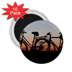 Bicycles Wheel Sunset Love Romance 2 25  Magnets (10 Pack)