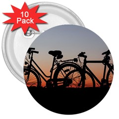 Bicycles Wheel Sunset Love Romance 3  Buttons (10 Pack)