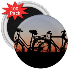 Bicycles Wheel Sunset Love Romance 3  Magnets (100 Pack)