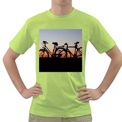Bicycles Wheel Sunset Love Romance Green T Shirt