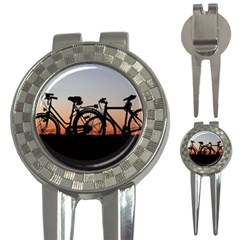 Bicycles Wheel Sunset Love Romance 3 In 1 Golf Divots