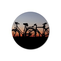 Bicycles Wheel Sunset Love Romance Rubber Round Coaster (4 Pack)