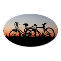 Bicycles Wheel Sunset Love Romance Oval Magnet