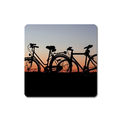 Bicycles Wheel Sunset Love Romance Square Magnet