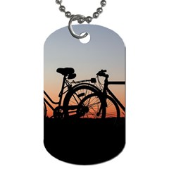 Bicycles Wheel Sunset Love Romance Dog Tag (one Side)