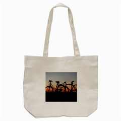 Bicycles Wheel Sunset Love Romance Tote Bag (cream)