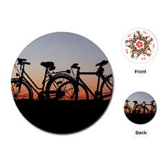 Bicycles Wheel Sunset Love Romance Playing Cards (round)