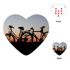 Bicycles Wheel Sunset Love Romance Playing Cards (heart)