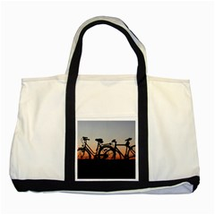 Bicycles Wheel Sunset Love Romance Two Tone Tote Bag