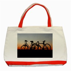 Bicycles Wheel Sunset Love Romance Classic Tote Bag (red)