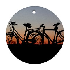 Bicycles Wheel Sunset Love Romance Round Ornament (two Sides)