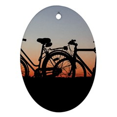 Bicycles Wheel Sunset Love Romance Oval Ornament (two Sides)