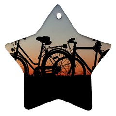 Bicycles Wheel Sunset Love Romance Star Ornament (two Sides)