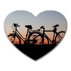 Bicycles Wheel Sunset Love Romance Heart Mousepads